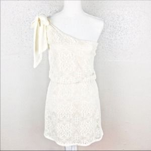 Judith March One Shoulder Blouson Lace Dress Small